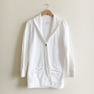 J. Crew White Rumpled French Terry Cardigan